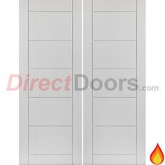 JBK Limelight Apollo Flush Fire Door Pair, White Primed and 30 Minute Fire Rated.  #firerateddoors