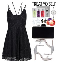 It's Time to Treat Yo'Self! (black lace dress) by beebeely-look on Polyvore featuring Marni, DKNY, Molton Brown, Improvements, blackdress, partydress, holidaystyle, treatyoself and yoinscollection