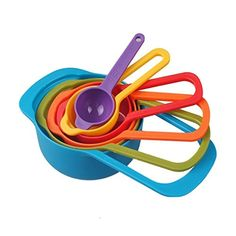 Set of 6 Measuring Cups and Spoons Nested Multicolored Plastic ** This is an Amazon Associate's Pin. Read more reviews of the product by visiting the link on the image.