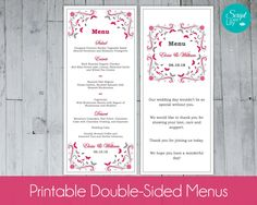 """Butterfly Menu Cards Template 