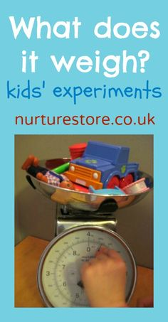 Weight experiments that are easy to set up for preschool learning.  A math center for preschool education.