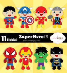 SUMMER SALE Super Hero Clipart, Super Hero Invitation, Superman, Captain America, Flash, Thor, Spiderman, Hulk, Batman