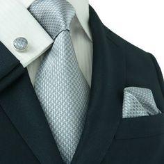 Landisun 343 Dark Gray Solids Mens Silk Tie Set: Tie+Hanky+Cufflinks