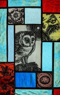 Stained Glass Paint, Stained Glass Designs, Stained Glass Projects, Fused Glass, Glass Art, Mosaic, Birds, Owls, Inspiration