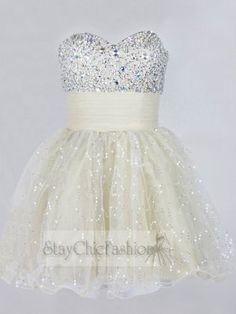 Sparkly Rhinestone Beaded Short Prom Dress 2014