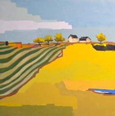 Geometric Farm - Landscape Painting 24x24 Oil Painting on Canvas