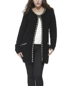 Another great find on #zulily! Black Wool-Blend Open Cardigan #zulilyfinds