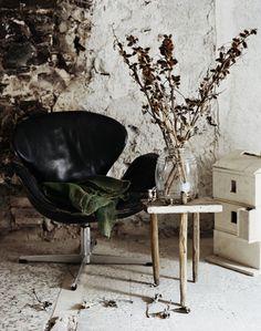 love the worn swan chair