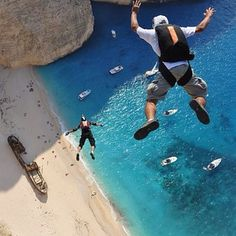 Base jumping in Zakynthos, Greece. | Base jumping in Navagio Beach has become so popular that it now hosts the Summer BASE Jump Boogie, where athletes make more than 300 jumps in five days.