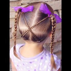 V I D E O • 2 small braids crossed upward into high braided pigtails • Such a fun style for toddlers.•  @peinadosvideos #peinadosvideos @hudabeauty #hudabeauty #cutegirlshairstyles