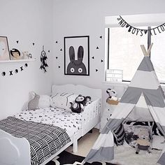Black & white kids room Black & white kids room The post Black & white kids room appeared first on Slaapkamer ideeën.