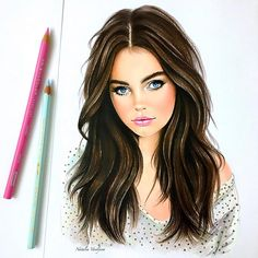 Fashion portrait art, 2019 art, art drawings ve color pencil art. Colored Pencil Artwork, Color Pencil Art, Colored Pencils, Realistic Drawings, Art Drawings, Beauty Illustration, How To Draw Hair, Beauty Art, Up Girl