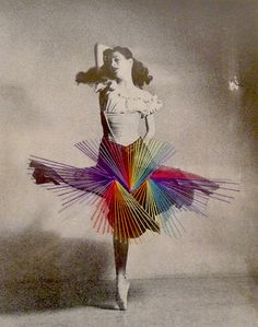 Chilean artist José Romussi uses vintage photographs of dancers to give a touch of modernity with embroidery