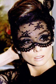 Audrey Hepburn black lace mask