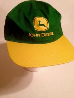 5366981b821355 John Deere Youth Hat Green Yellow Brim Snapback 2005 New NWOT  JohnDeere   BaseballCap