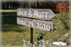 2 Wedding Signs Salvaged Wood Directional by WeddingSignsWithLove, $55.00