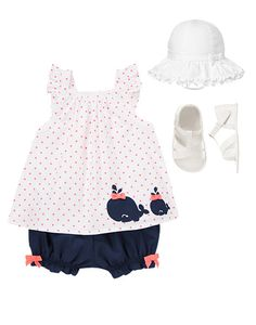 Sewing Baby Girl Dotty Whale Set at Gymboree. My daughter has way too many clothes, but this I could not resist. Baby Outfits, Outfits Niños, Toddler Outfits, Kids Outfits, Trendy Outfits, Baby Kind, My Baby Girl, Cali Girl, Baby Girls
