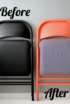 & After: A Colorful DIY Folding Chair Makeover Awesome and easy folding chair makeover -- great for the upcoming holidays, too!Awesome and easy folding chair makeover -- great for the upcoming holidays, too! Folding Chair Makeover, Chair Redo, Diy Chair, Chair Upcycle, Chaise Diy, Scandi Living, Do It Yourself Baby, Cool Dorm Rooms, Stoff Design