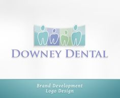"""Latest logo design for Downey Dental. Client initially requested """"no tooth"""" in the logo. I did present other options. But I offered this concept as a """"just in case,"""" and the client LOVED it! This dental office desired a gentle and approachable design that communicates their brand's commitment to family and community, which I symbolized by the """"tooth people."""" And the upward curve on the panels in the back is symbolic of a smile. Gentle, subtle design that still is right on brand! :)"""