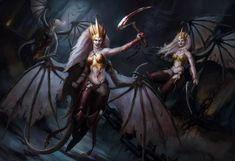Daughters of Khaine: Here Come The Harpies - Bell of Lost Souls Warhammer Dark Elves, Warhammer 40k Art, Warhammer Fantasy, Warhammer Armies, Fantasy Demon, Fantasy Heroes, Fantasy Characters, Novel Characters, Witch Elves