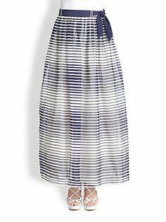 Armani Collezioni - Silk Stripe Maxi Skirt - Saks.com