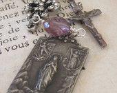 vintage repurposed assemblage jewelry necklace sacred heart of jesus rosary religious medal fleur de lis pearl crucifix by atelier paris