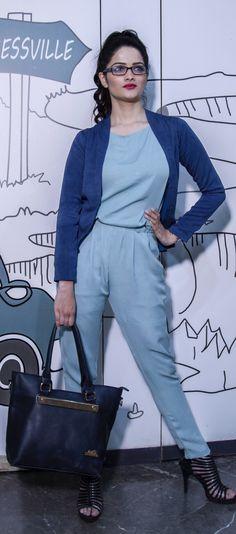 8ca130e041c Georgette jump suit teamed up with a blue short jacket. Sayuri Design Studio