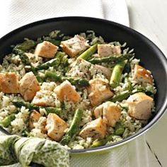 Chicken and asparagus with rice. Uses dill, which I usually am not fond of, but it sounds surprisingly good and easy...