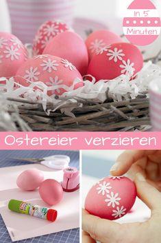 Einfarbige Ostereier sind dir zu langweilig? Wir zeigen dir, wie du sie schnell aufpeppst!  #ostern #ostereier #osterdeko #osterfest #easter #basteln #selbermachen #diy
