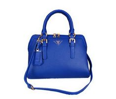 Prada Grainy Leather Top Handle Bags BL1903 Blue - $239.00