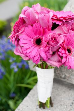 Hot Pink Bridal Bouquet: Gerbera Daisies, Roses, Tulips