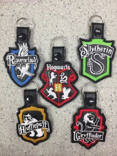 Harry Potter, Hogwarts, Gryffindor, Slytherin, Hufflepuff, Ravenclaw, ITH,in the hoop, key, fob, embroidery, design, vehicle, car, auto, key chain, set