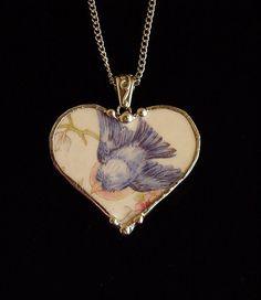 Broken china jewelry heart pendant necklace antique bluebird china