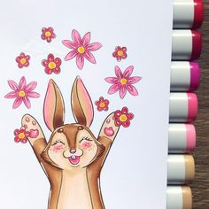 Its been a while since i have colored one of these cuties💗 - Available at Charlies Stamps on Etsy💗 - Easter Flowers, Digital Stamps, Copic, My Images, Stamping, Coloring Pages, Bunny, Happy, Handmade