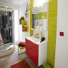 meuble de salle de bains remix rouge rouge n3 - Salle De Bain Rouge Leroy Merlin