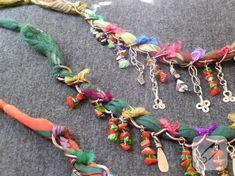 Cheesecloth and beaded jewelery Crochet Necklace, Beaded Necklace, Fabric Beads, Cheese Cloth, Stone Beads, Jewelery, Jewelry Accessories, Handmade Jewelry, Chain