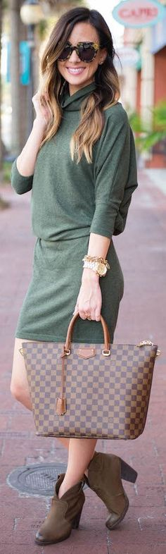 Green Sweater Shirtdress Fall Inspo by Sequins & Things. women fashion outfit clothing style apparel @roressclothes closet ideas