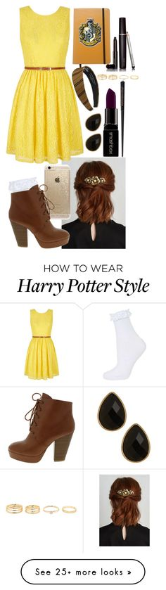 """Hufflepuff-modern"" by ockey-33 on Polyvore featuring Topshop, Yumi, Rifle Paper Co, Smashbox, Laura Mercier, Natasha Accessories, modern, women's clothing, women's fashion and women"