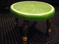 Hand Painted Lime Slice Footstool