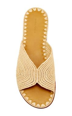 M'O Bridal & Wedding: Natural Salon Slip On Sandals by Carrie Forbes from our curated Honeymoon trunkshow Crochet Sandals, Crochet Shoes, Crochet Slippers, Crochet Clothes, Crochet Edging Patterns, Leather Sandals Flat, Espadrille Shoes, Summer Shoes, Slip On Shoes