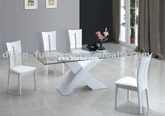 modern glass dining table | Modern Fashion Tempered Glass dining table dinner table tempered glass ...