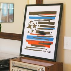"""Made in USA screenprint by Brainstorm. 16x20"""" 3 color. $35"""