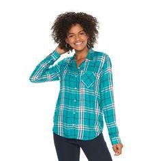 Juniors' SO® Twill Button-Down Shirt, Girl's, Size: Medium, Med Green
