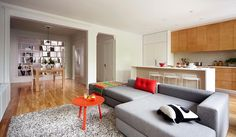 la Shed—lavoie project, a sense of the open floorpan with big couch behind island