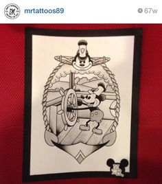 Steamboat Willie Disney Mickey Mouse water color painting tattoo flash art by matt robinson