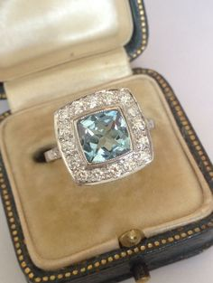 We can't get enough of aquas at the moment, here is a sublime halo set one with stunning diamonds, in 18ct white gold, beautiful :) #Anniversary #Wedding #London #Diamonds #IJL2015 #Aquamarine #amazing