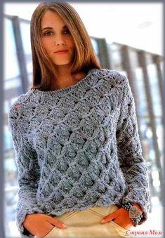 Женский пуловер вязаный спицами очень красивым рельефным узором. Как раз нужно готовится к осени, по этому поводу обновляем свой гардероб. Для того что бы связать женский пуловер