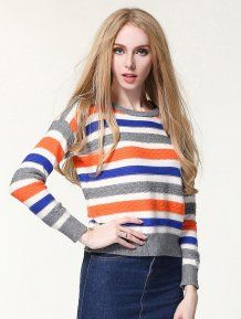 Blue Loose Round Neck Casual Striped Woman Sweater