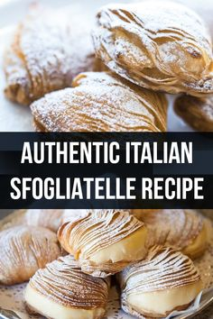 Here we present the authentic Italian sfogliatelle recipe. This delicious pastry… Here we present the authentic Italian sfogliatelle recipe. This delicious pastry is one of the most famous of the pasticceria Napoletana, very delicious. Italian Cookie Recipes, Italian Cookies, Pastry Recipes, Baking Recipes, Dessert Recipes, Authentic Italian Recipes, Italian Cake, Sicilian Recipes, German Recipes