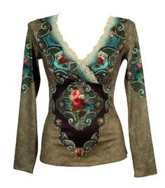 Amazon.com: Michal Negrin Long Sleeves Jacquard Green Print V-Neck Blouse Designed with Swarovski Crystals Enhanced Vintage Floral Pattern, Scalloped Edge Hand Dyed Lace Trim and Gold Merrow Edge Finish: Clothing